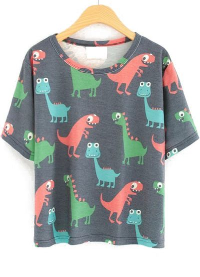 Grey Short Sleeve Cartoon Dinosaur Print T-Shirt