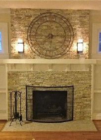 Recycled Granite Split Stone Tile On Fireplace Wall