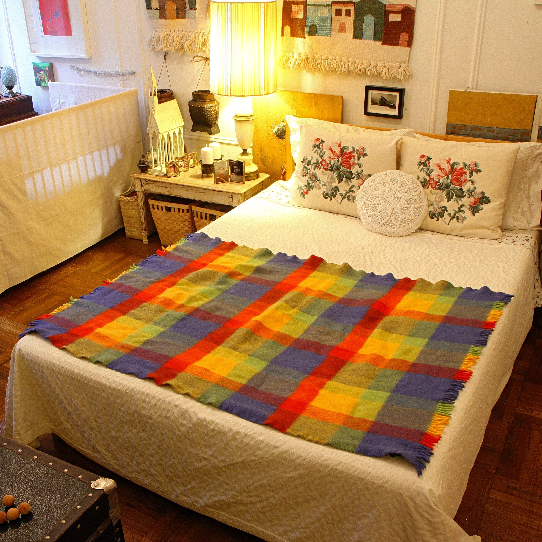 Wool throw blanket plaid wool blanket rainbow colors throw vintage