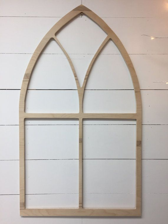 Vintage Inspired Tall Pointed Arch Window Wood Frame Unfinished Pt1 Wood Home Decor Frame Decor Wood Windows