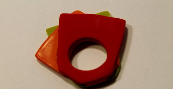Polymer clay ring geometrical 80's inspired by SunshineTextiles, $19.50