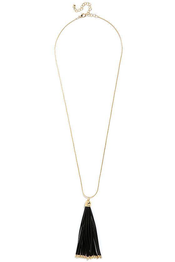 Black and gold tassel necklace Gold Tassels