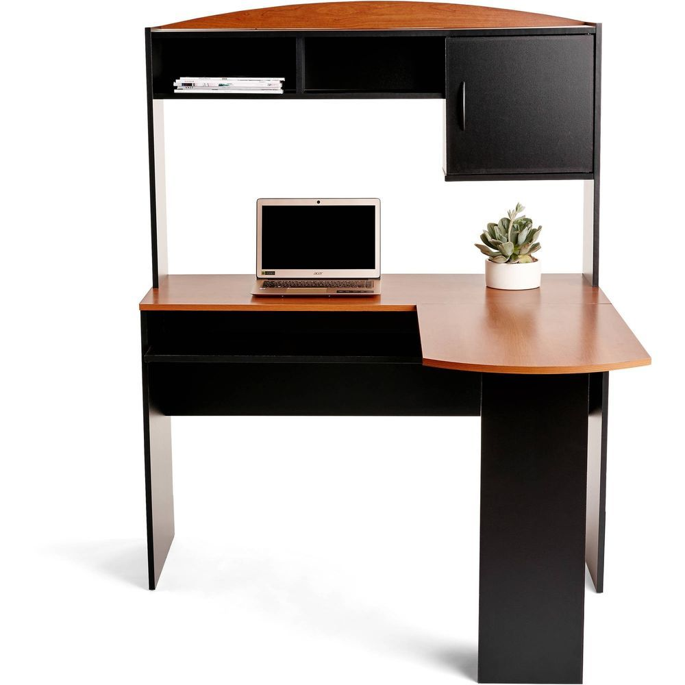Desk with hutch corner workstation black finish writing table office