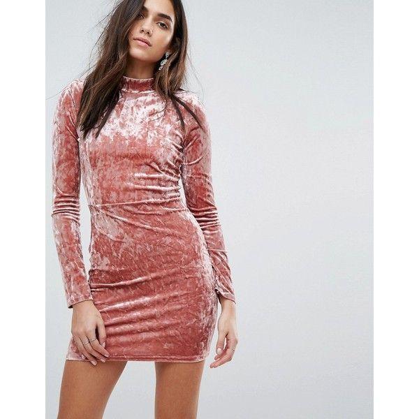 PrettyLittleThing Crushed Velvet Bodycon Dress (€27) via Polyvore ...