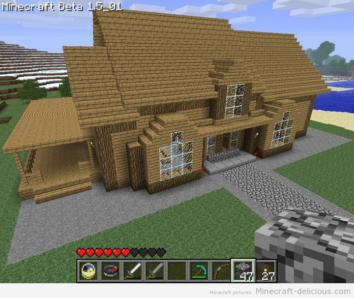 Minecraft house dormer window side porch and front for Home designs minecraft