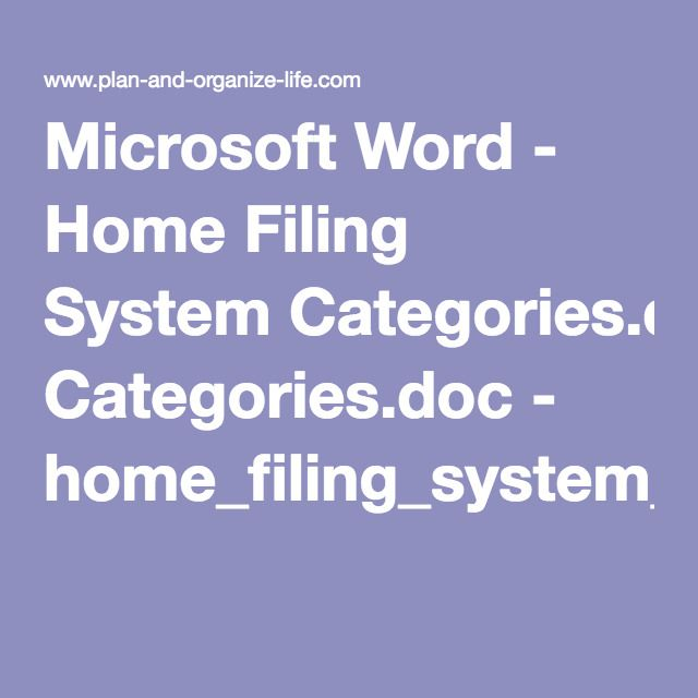 Microsoft Word - Home Filing System Categoriesdoc - microsoft articles of incorporation