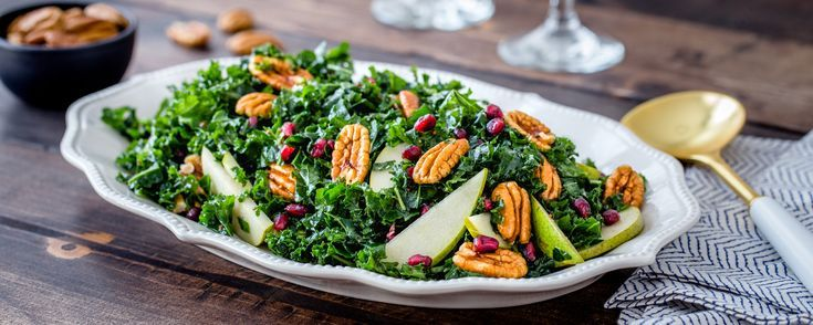 Pecan, Pear, Pomegranate Kale Salad - American Pecan Council - Food and drink -