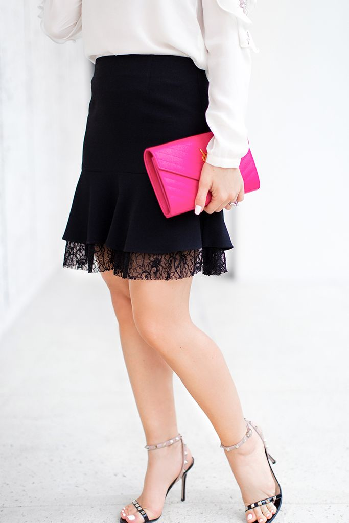 581769ba59 Blame it on Mei, @blameitonmei, Miami Fashion Blogger, Holiday Look, Lace  Ruffle Skirt Blouse, Black & White outfit, Elegant Look, Date-night look,  ...