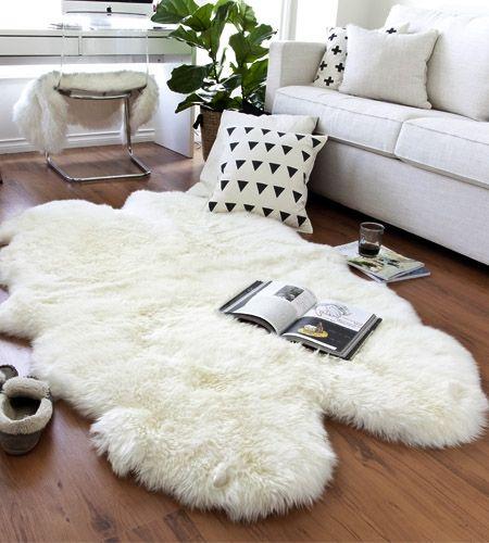 Four Pelt Natural White Quarto Sheepskin Rug 4x6 My Dream