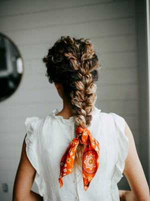 Love This At Home Curly Hairstyle Doing A Tutorial Would Be Super Fun For This Curly Hair Styles Scarf Hairstyles Braided Hairstyles