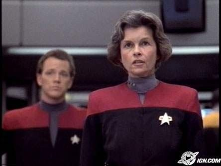 This was the original Captain Janeway played  by Montreal Quebec, Canada Actress Genevieve Bujold. She quit after she felt she would be typecast forever as a Star Trek Character. She gave up the demanding job of Captain of the USS Voyager after only one day of filming. The part then went to Kate Mulgrew as we all know and Love.