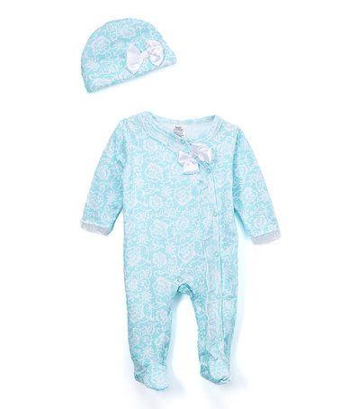 91f276e99f 8.99 Aqua Floral Footie & Beanie - Infant #zulily #zulilyfinds Baby  Essentials,