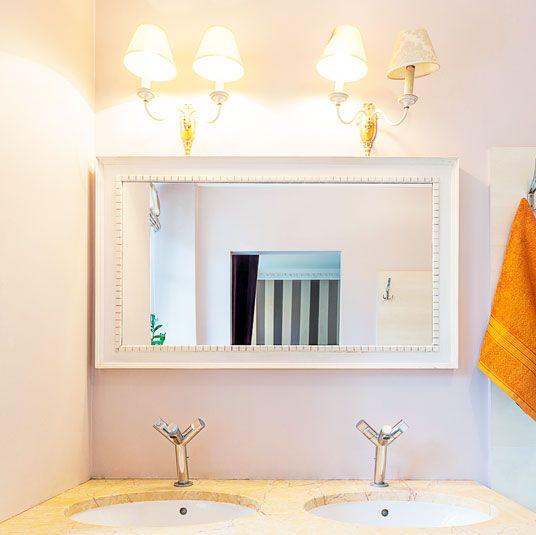 A Custom Made White Framed Mirror For The Bathroom Bathroom