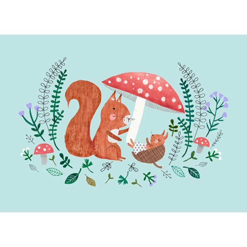 NEW * Baby Squirrel postcard or mini print - Rebecca Jones ...