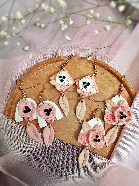 Flower earrings clay earrings statement earrings