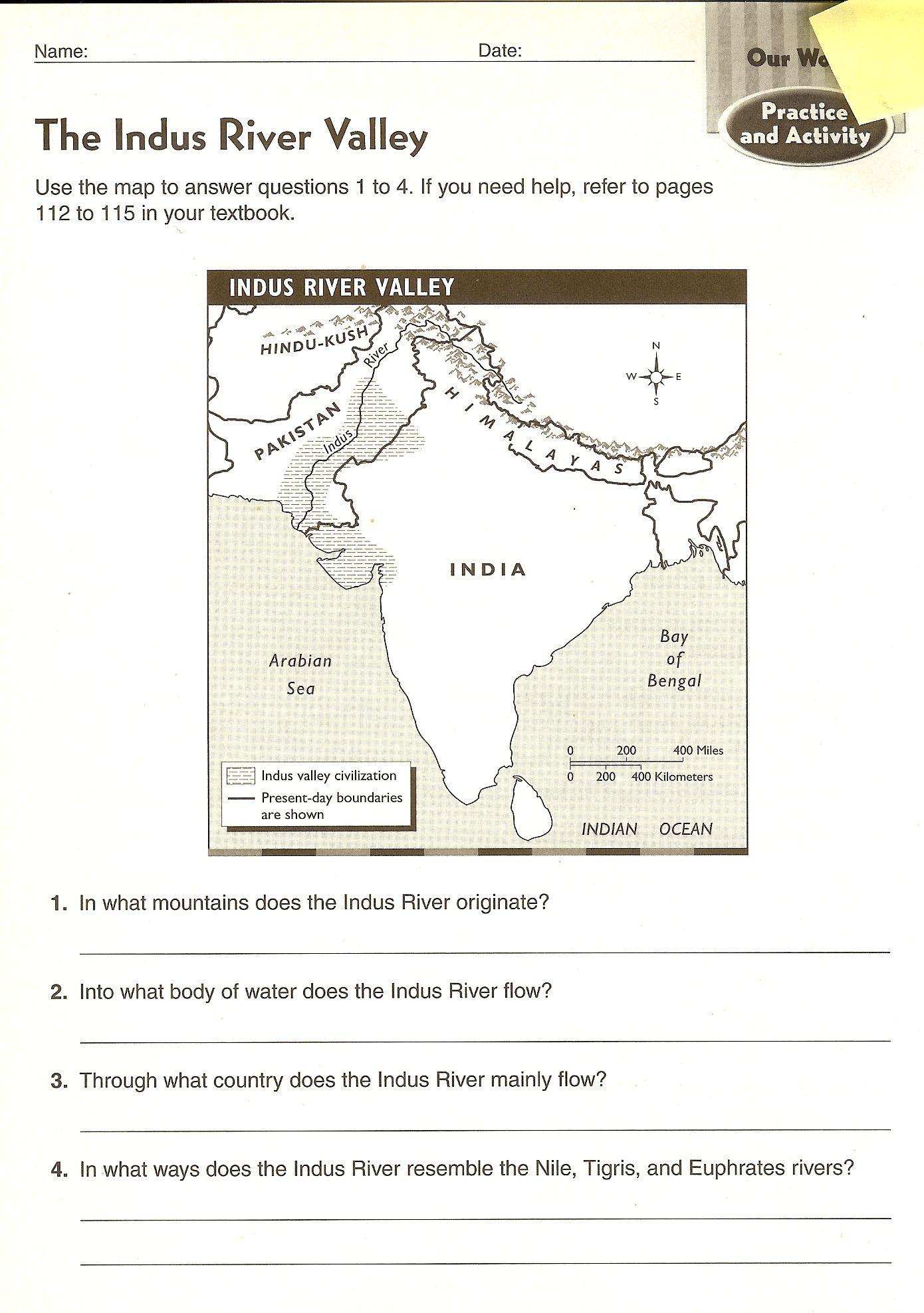 Chapter 4 Ancient India Map Worksheets Ancient India Map Social Studies Worksheets