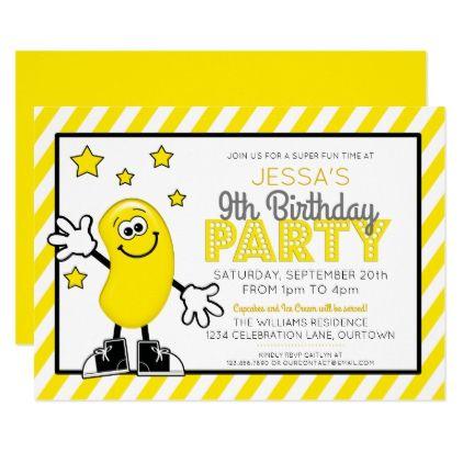 Yellow Jelly Bean Birthday Party Invitation Party invitations - invitation to a party