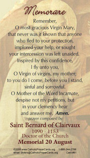 graphic regarding Memorare Prayer Printable titled Memorare prayer card Misc enjoys Memorare prayer