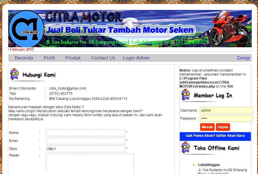 Download Source Code Aplikasi Web Untuk Showroom Mobil Motor Bekas Aplikasi Web Motor Showroom