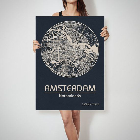 Amsterdam netherlands map city street map art print poster city amsterdam netherlands map city street map art print by archtravel publicscrutiny Images
