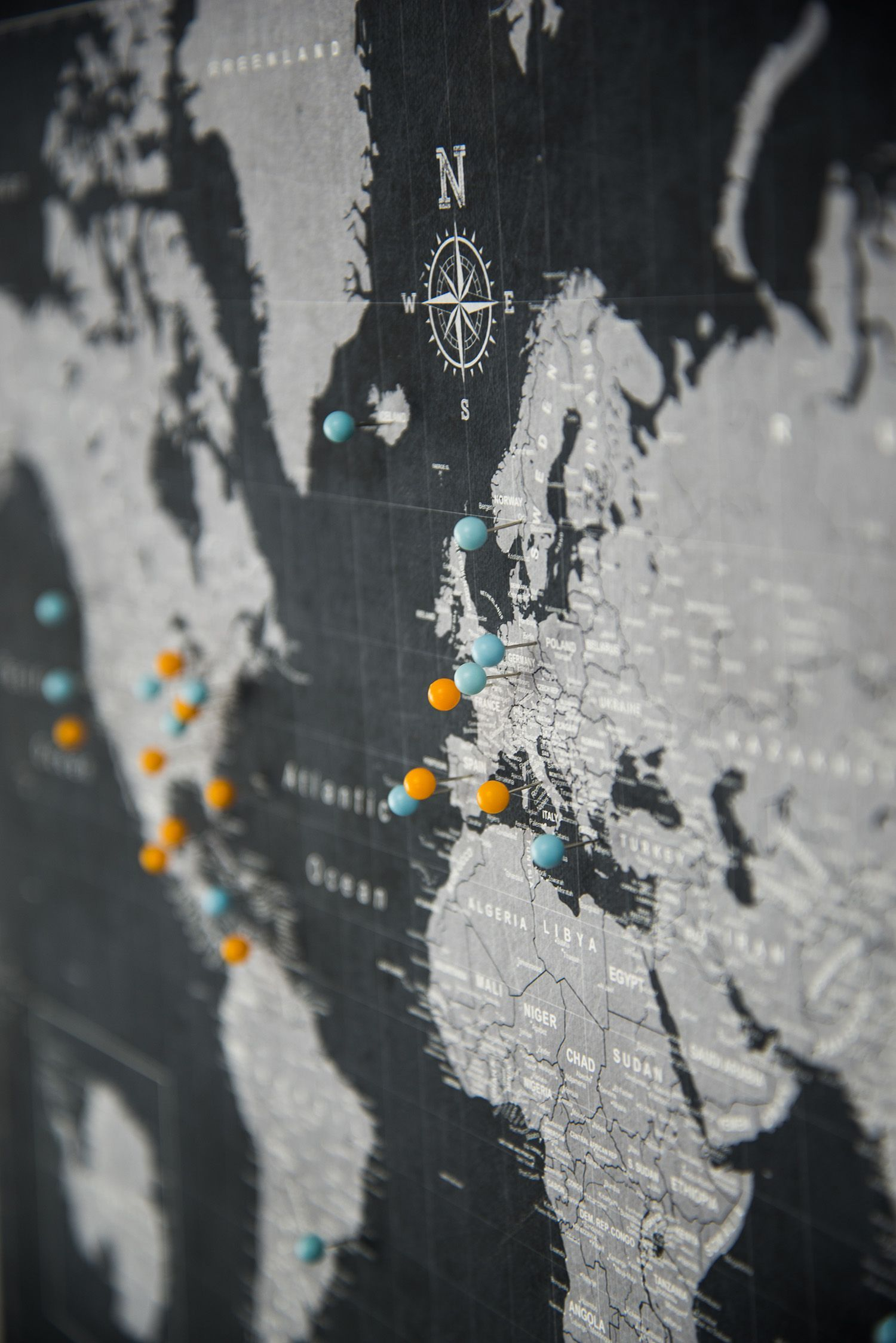 Modern slate canvas pinboard push pin travel world map modern modern slate canvas pinboard push pin travel world map gumiabroncs Gallery