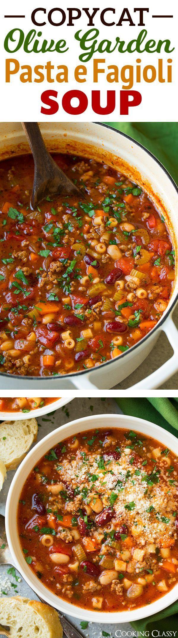Olive Garden Pasta e Fagioli Soup Copycat Recipe - a family favorite! One of my ... -