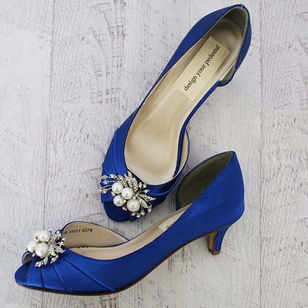 Royal Blue Peep Toe Kitten Heel Custom Wedding Shoes With Silver Crystal And Pearl Adornment Blue Wedding Shoes Royal Blue Wedding Shoes Wedding Shoes Heels