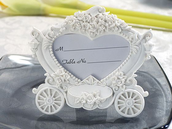 White Heart Shaped Wedding Coach Place Card Frame