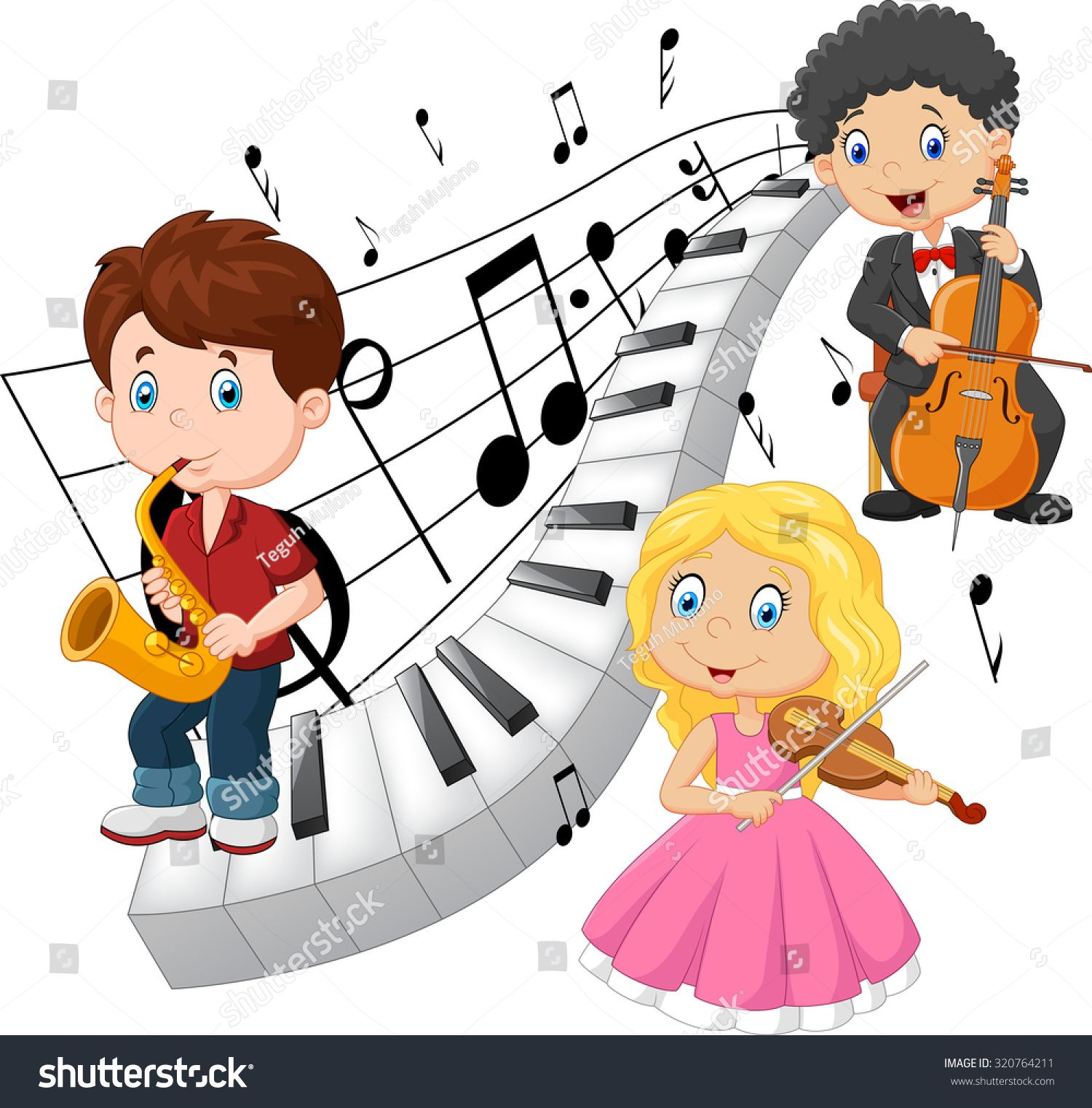 Music kid. Little kids playing with