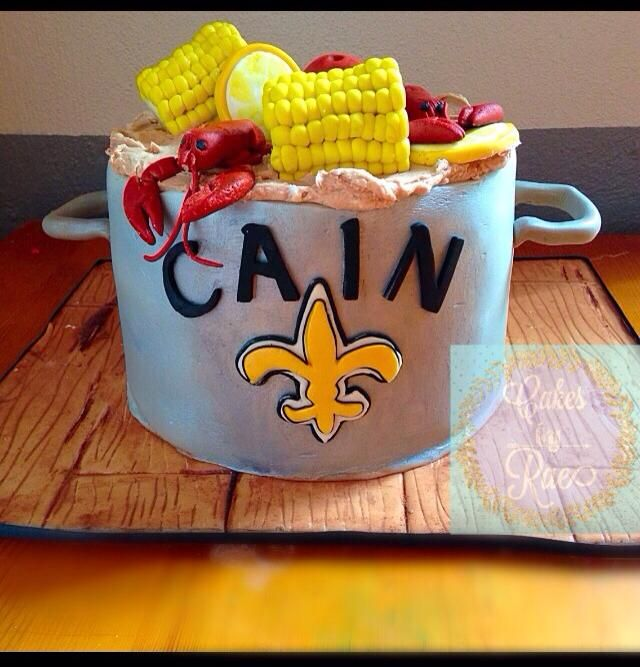 Louisiana Themed Cake Crawfish Boil And New Orleans Saints Inspired
