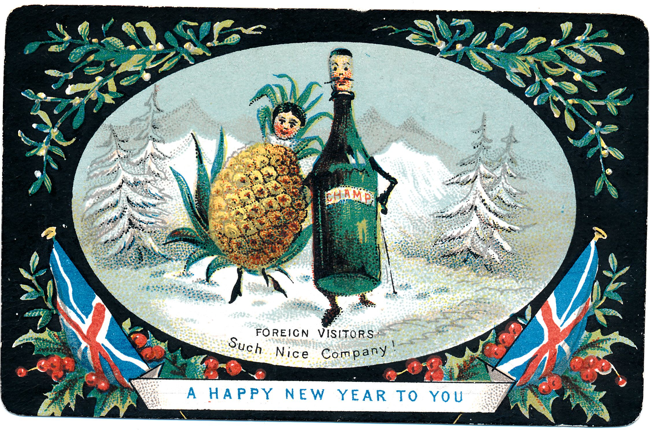 Victorian New Year Card Christmas pictures vintage
