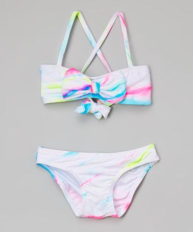 Another great find on #zulily! White Tie-Dye Bow Bikini - Toddler & Girls #zulilyfinds