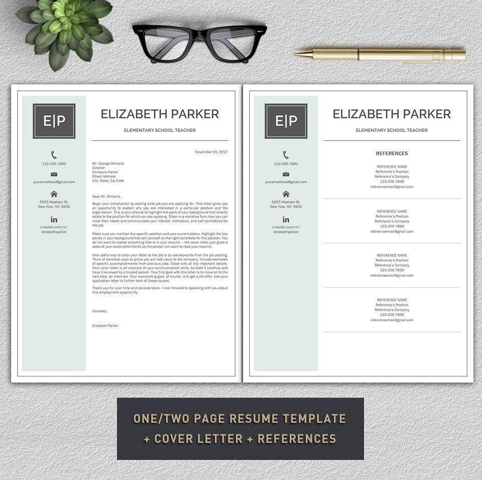 Resume Template / Teacher Resume ZIPincludedDigital