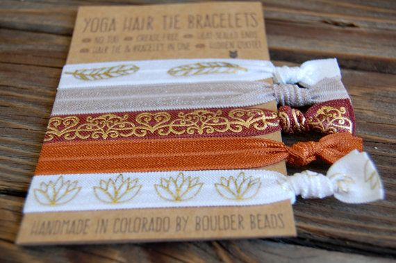 Yoga Hair Tie Bracelets  Set of 5 Hair Elastics  by BoulderBeads