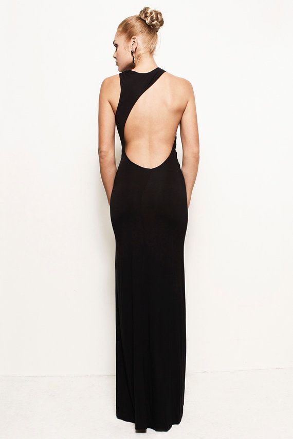 a61802cda1839 Now this is a dress to show off the benefits of booty camp! LAUREN -  Grecian Backless Asymmetric Jersey Maxi Wedding Prom Dress Gown (Helmut  Lang
