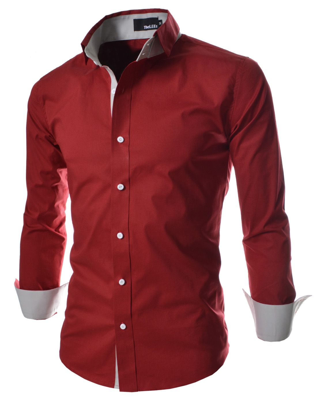 Dch Red Mens Casual Unique Double Collar Slim Shirts Red Shirts