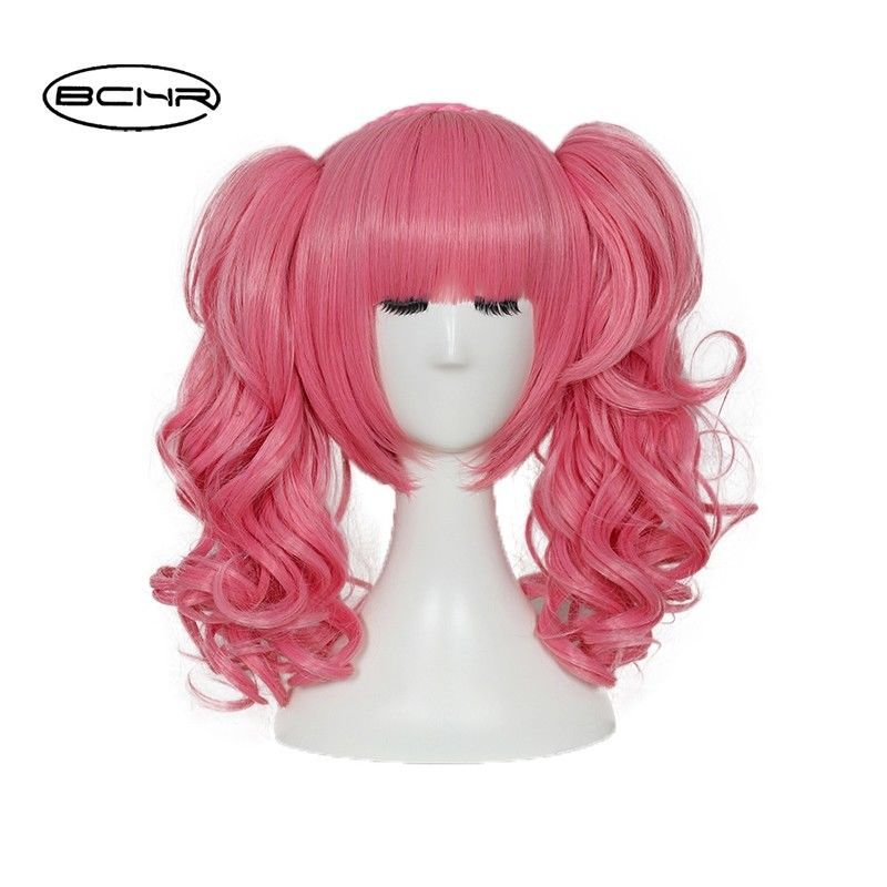 Lolita Heat Resistant Short Curly Pink Hair Anime Cosplay Wig With Ponytail  Cap Short Curly Pink b84d86bf458b