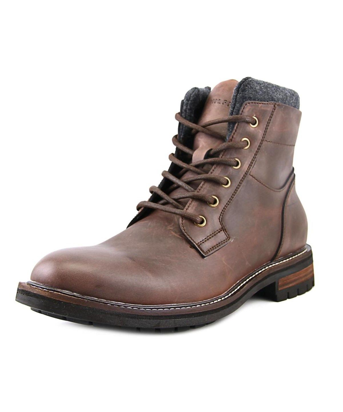 3cdea74b8c1c6 TOMMY HILFIGER Tommy Hilfiger Hamden Men Round Toe Leather Brown Boot .   tommyhilfiger  shoes  boots