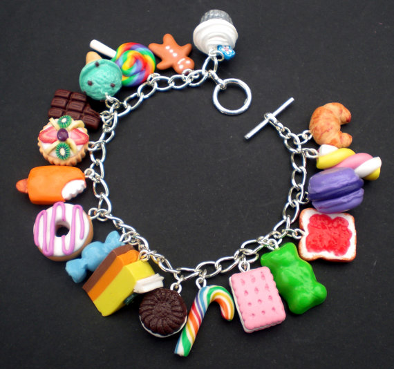 Polymer Clay Charm Bracelet: MultiColoured Loaded Kawaii Food Charm Bracelet By