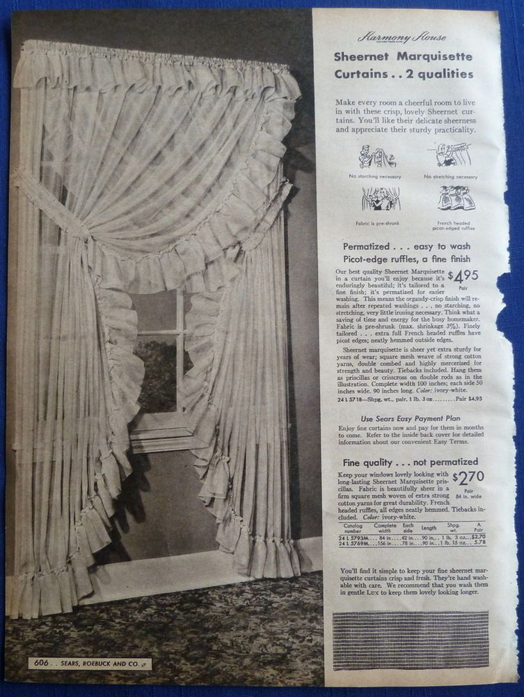 Curtains Window Coverings Kitchen Home Decor Vintage 1940s Sears Original Ads