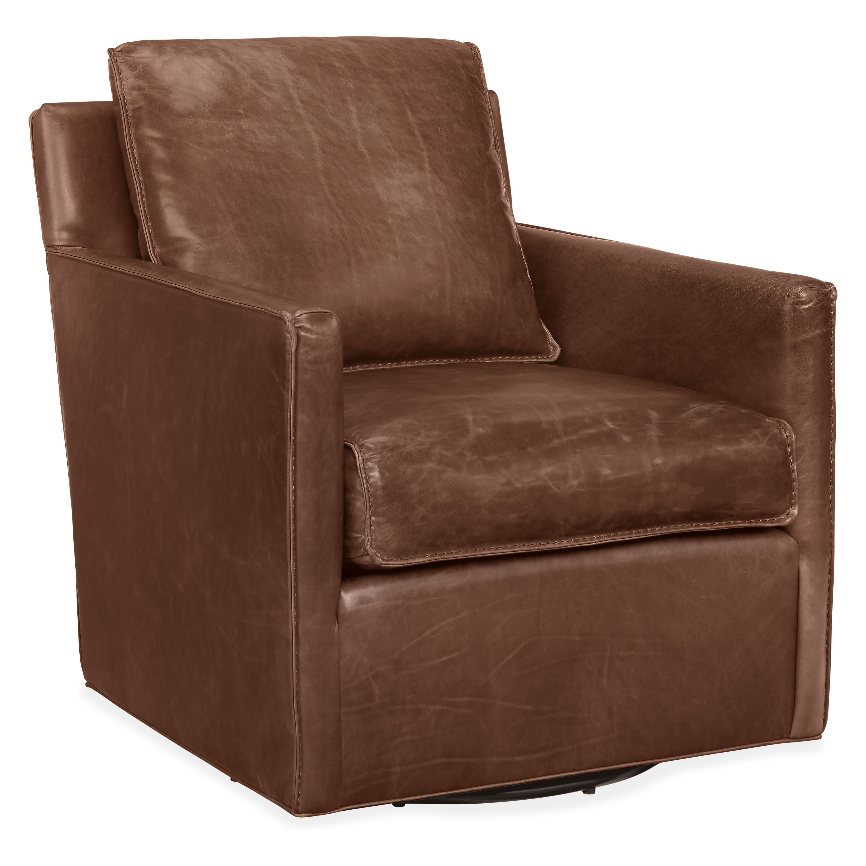 Bram Leather Swivel Chair Accent Chairs Modern Living