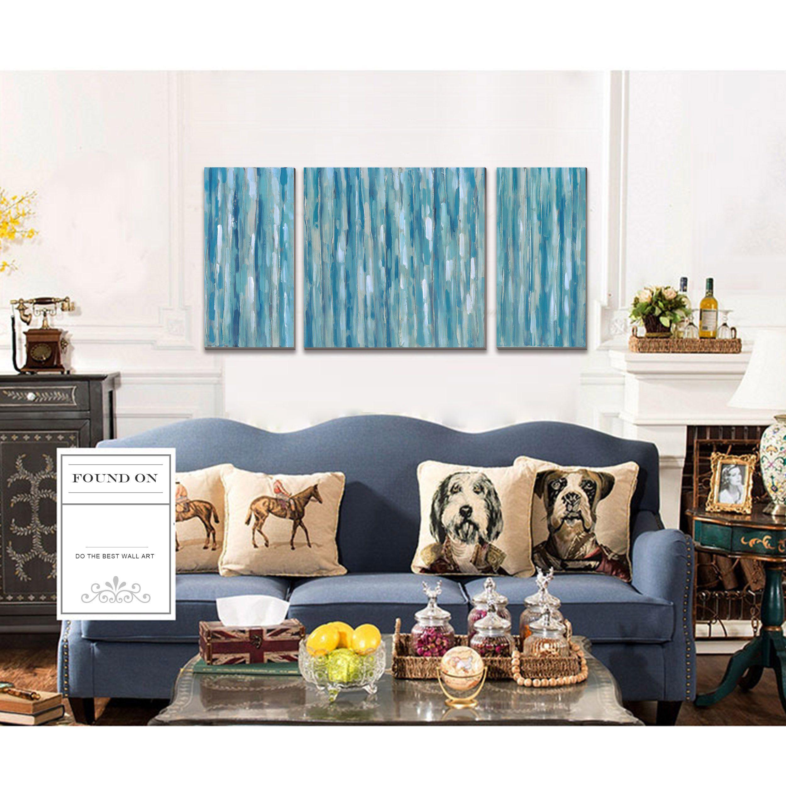 Blue Abstract Modern Prints On Canvas Artwork Cubism Canvas Print