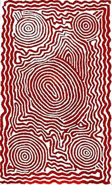 Barney Campbell Tjakamarra (1928-2007) Tingari Cycle McDonald Ranges, Synthetic polymer on Belgian linen, 123 cm x 82 cm, Framed Size: 160 cm x 120 cm