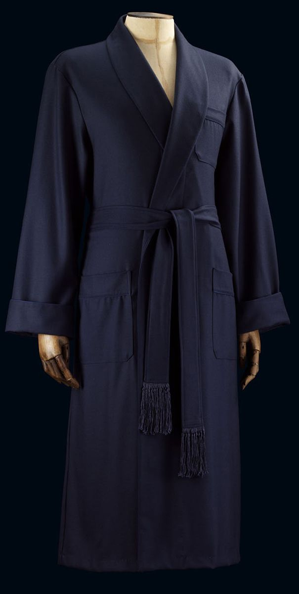 Savile Row Westminster Navy Pure Wool Bathrobe | Bathroom Chic ...