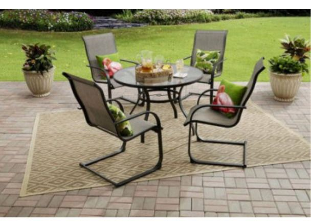 Outdoor Patio Dining Set 5 Piece Table Chairs Round ...