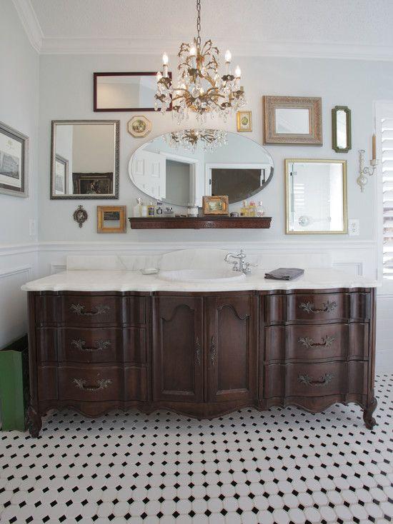 old dresser turned to vanity bathroom! Great idea!