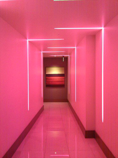 Pink Room With Strip Lighting Recessed