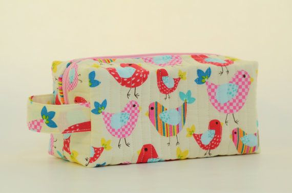 Colorful Chicks Quilted Cosmetic & Storage by DoreensBabyBoutique