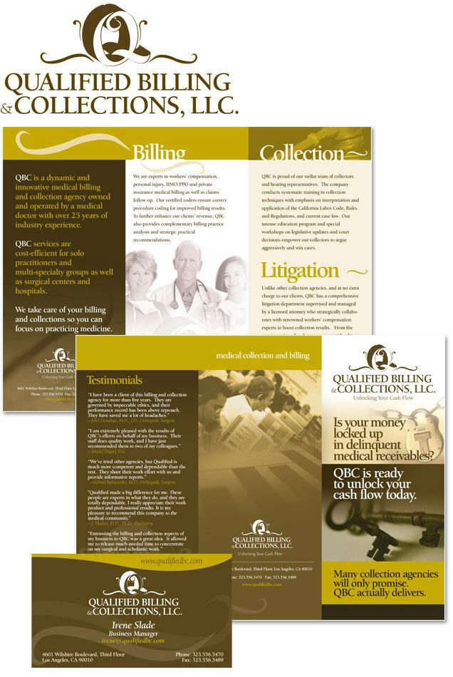 trifold brochure design and logo design for collections agency