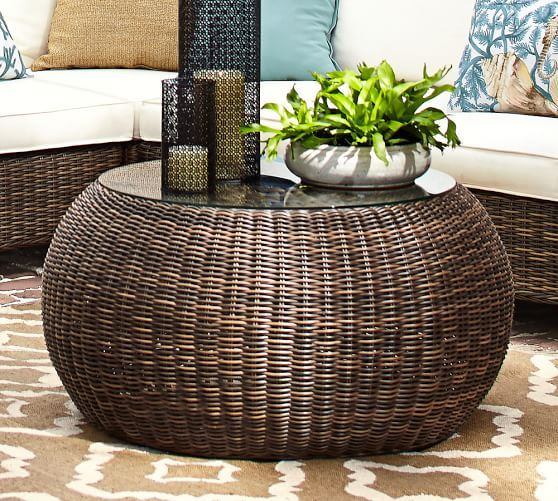 Awesome Torrey All Weather Wicker Pouf Coffee Table With Glass, Espresso